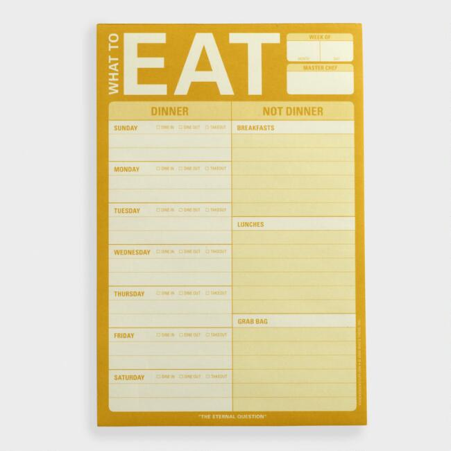 What To Eat Menu Planner Notepad