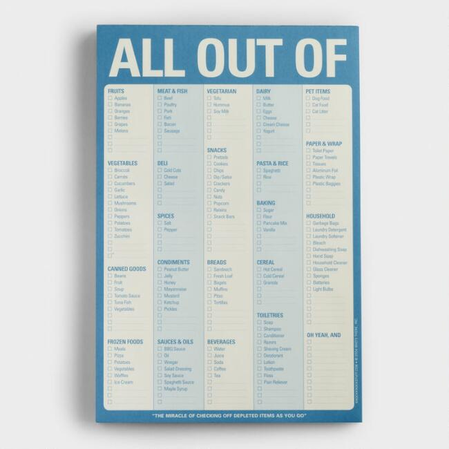 All Out Of Grocery List Notepad