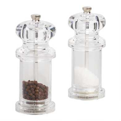 Cole & Mason Acrylic Salt and Pepper Mill Filled Set