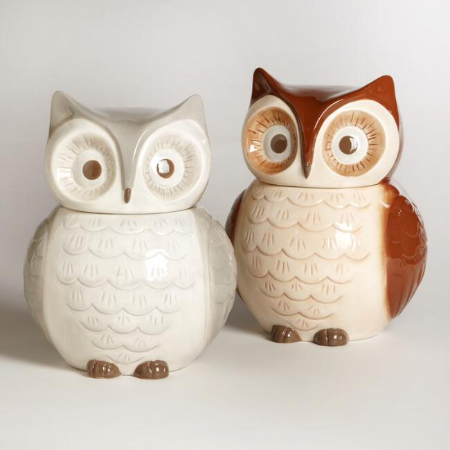 Owl cookie jars set of 2