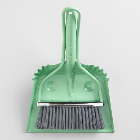 Mint Metal Smiley Dustpan with Hand Broom