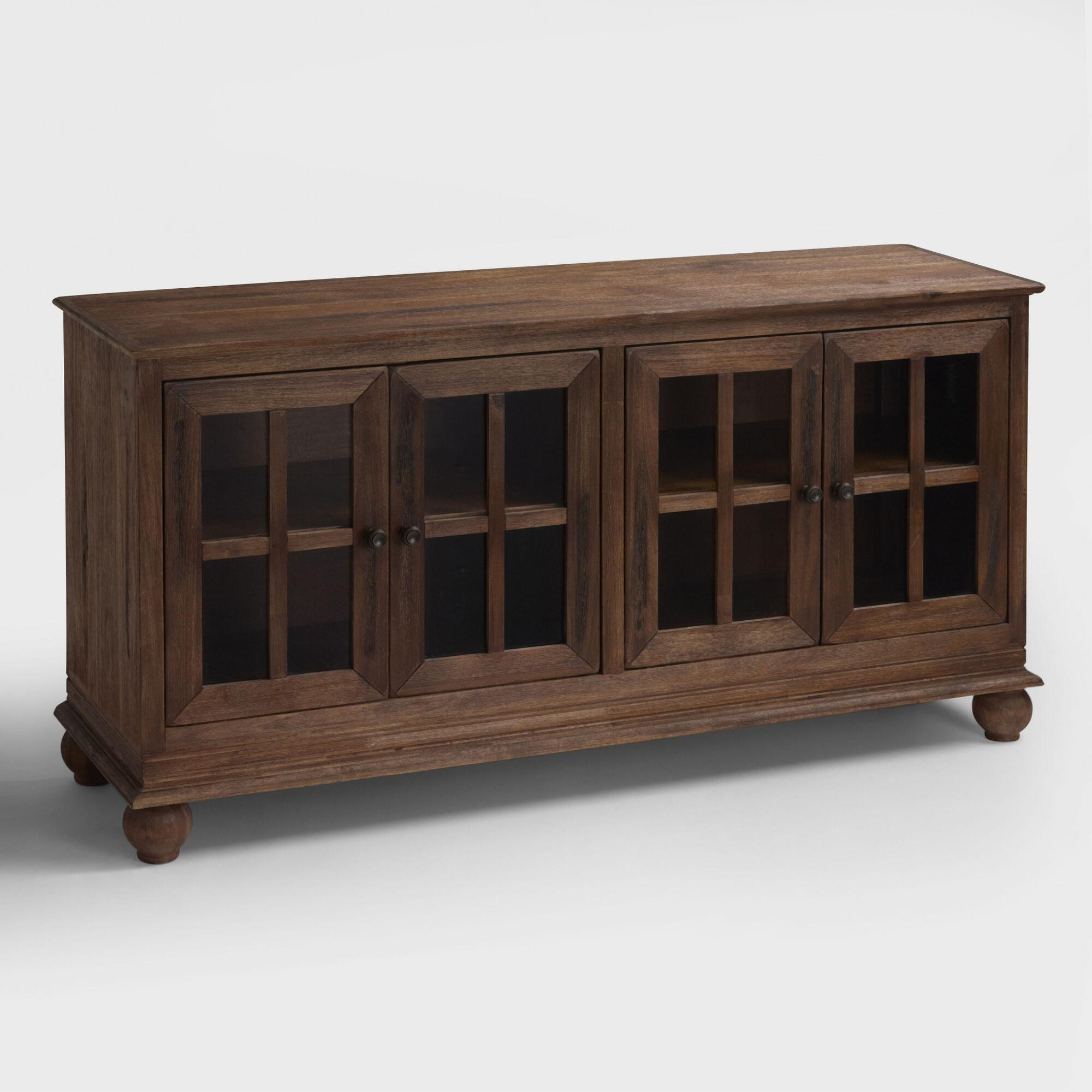 Low Glass Cabinet Display Cabinets Rustic Bookcases Shelves World Market
