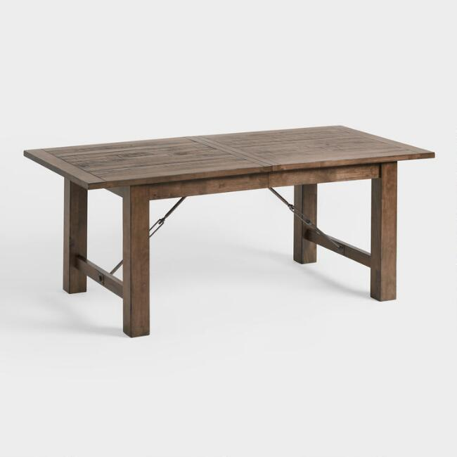 Dining Room Tables Rustic Wood Farmhouse Style World Market - Round farm table with leaf