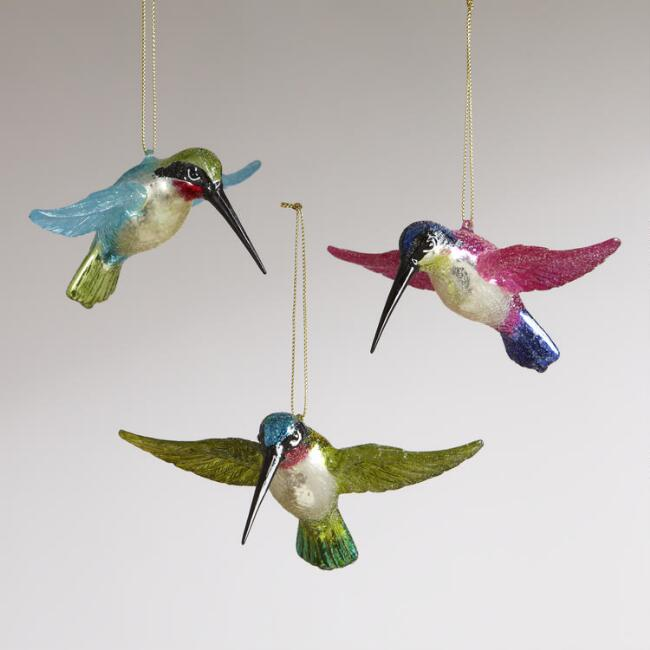 Flying Hummingbird Ornaments,  Set of 3