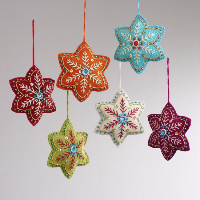 Embroidered Felt 6-Pointed Star Ornaments, Set of 6