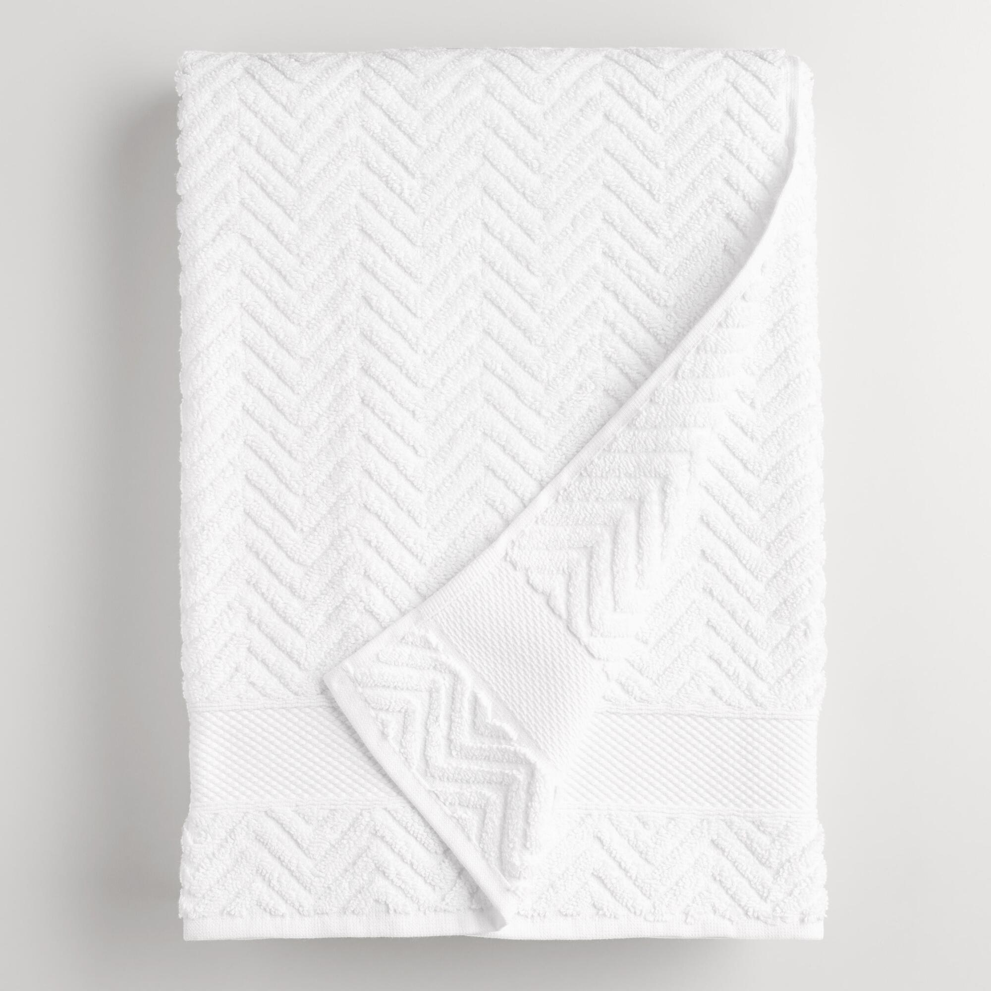 White Chevron Spa Bath Sheet - Cotton by World Market