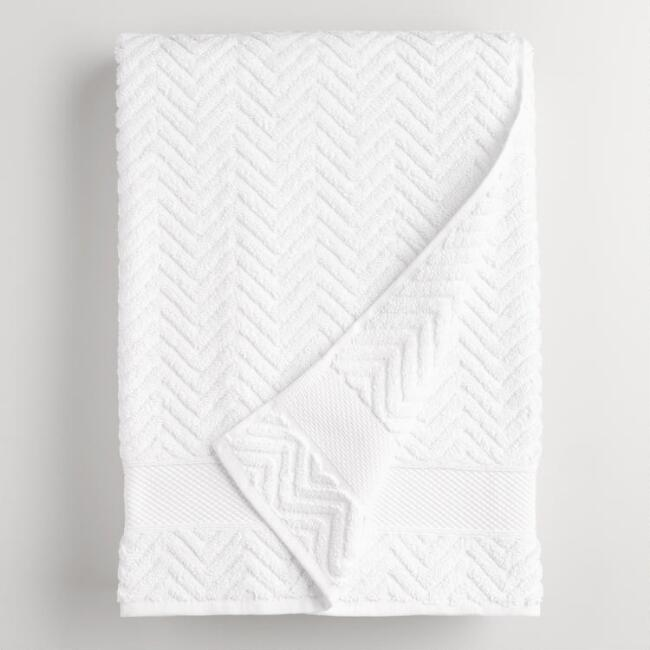 White Chevron Spa Bath Sheet