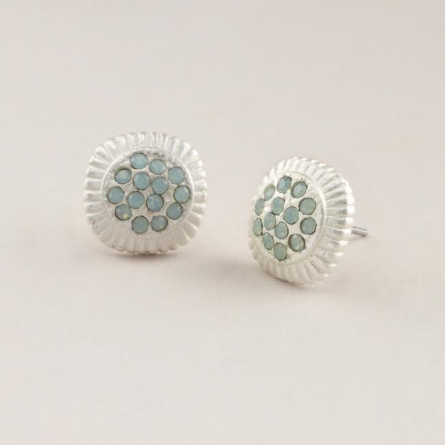 Silver and Green Stone Stud Earrings
