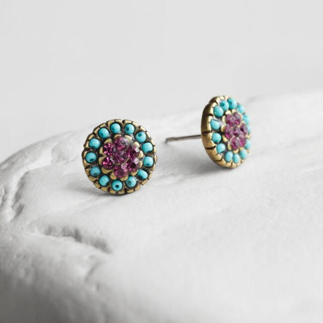 Turquoise and Purple Stud Earrings