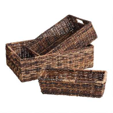 Low Dark Brown Abaca Madras Utility Basket