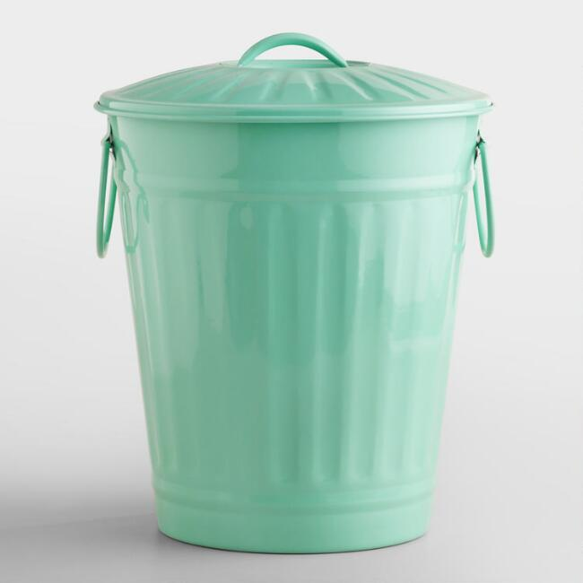 Mint Retro Metal Trash Can