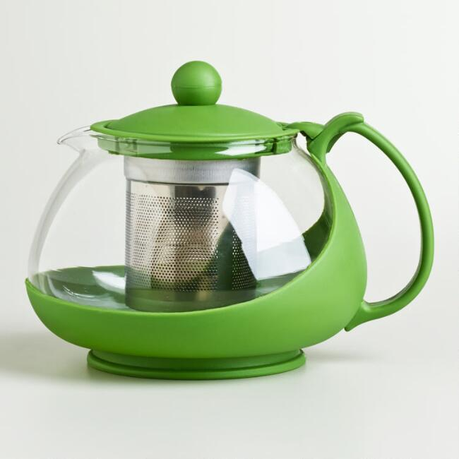 Green Glass Infuser Teapot