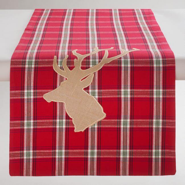 Red Plaid Stag Table Runner