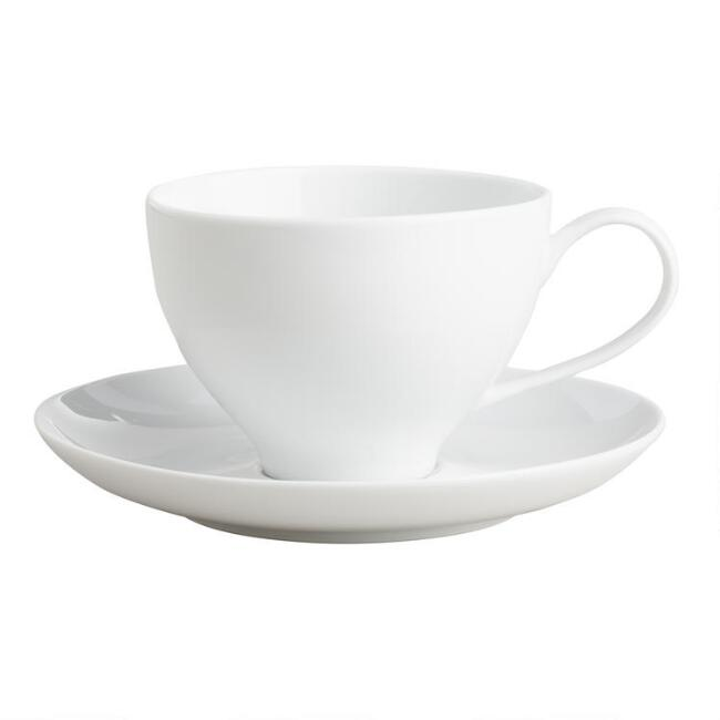 White Porcelain Spin Cup And Saucer Duo Set Of 4