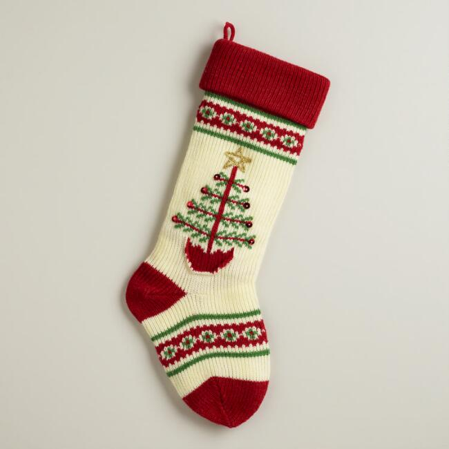 Red Christmas Tree Knit Stocking
