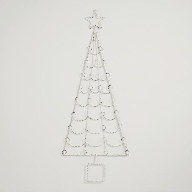 White Washed Christmas Tree Card Holder