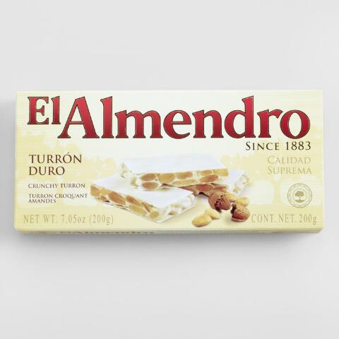 El Almendro Crunchy Almond Turron on books sale, white sale, green sale,