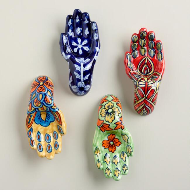 Painted Ceramic Hands, Set of 4