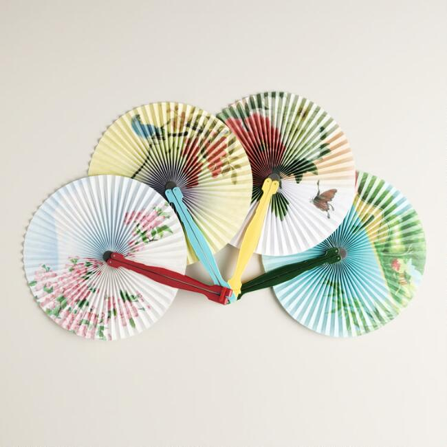 Solid Colors Folding Fans Set of 4