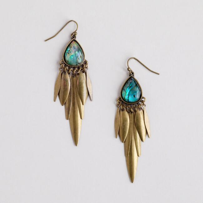 Abalone and Brass Chandelier Earrings