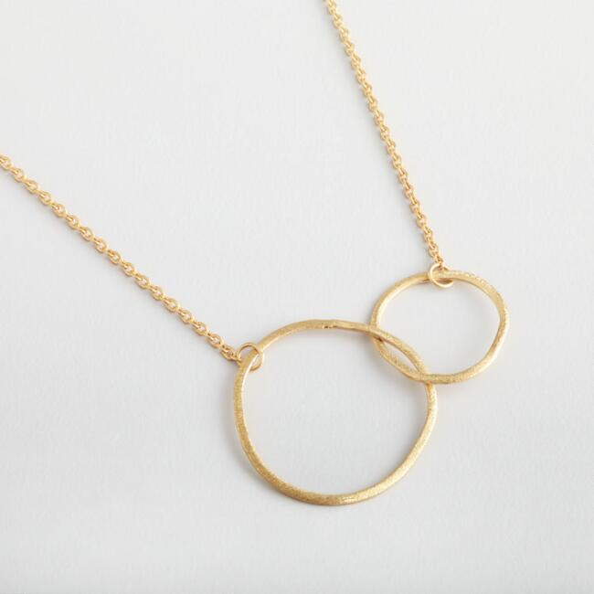Gold Double Ring Pendant Necklace