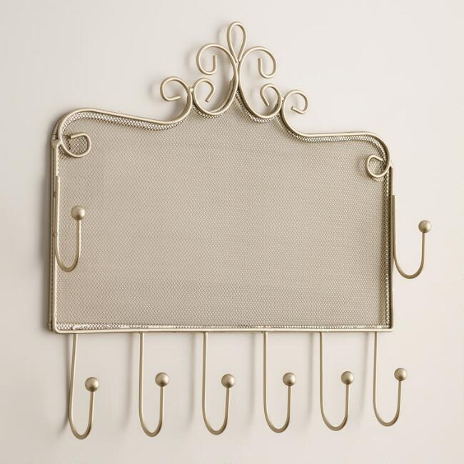 Pewter Wall Jewelry Holder with Hooks