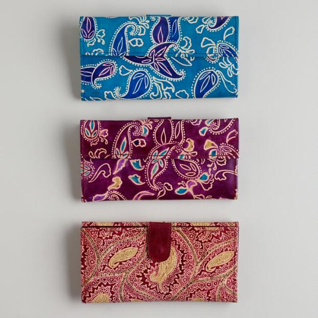 Embossed Leather Paisley Wallets