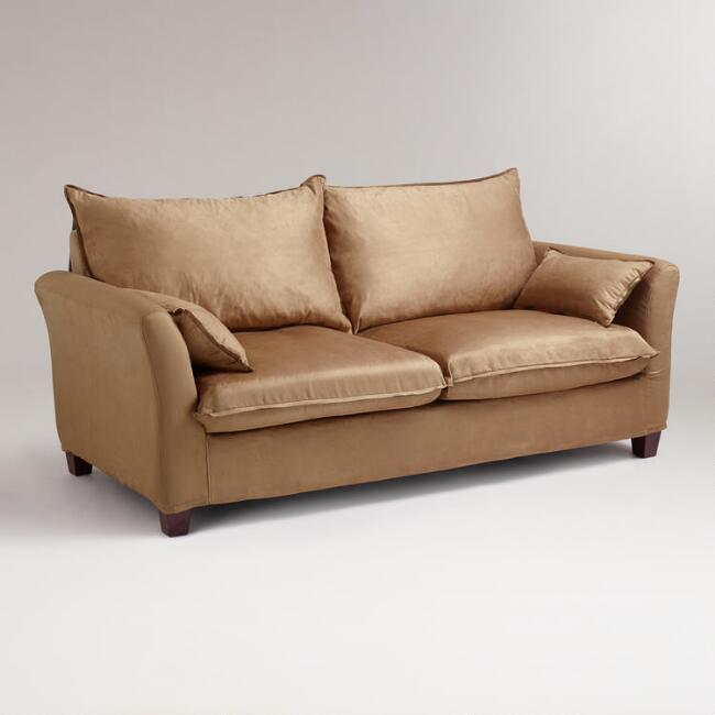 Moccasin Microsuede Luxe Sofa Slipcover