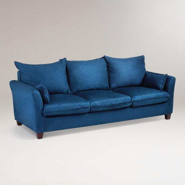 Midnight Blue Microsuede Luxe 3-Seat Sofa Slipcover - Midnight Blue Microsuede Luxe 3-Seat Sofa Slipcover World Market