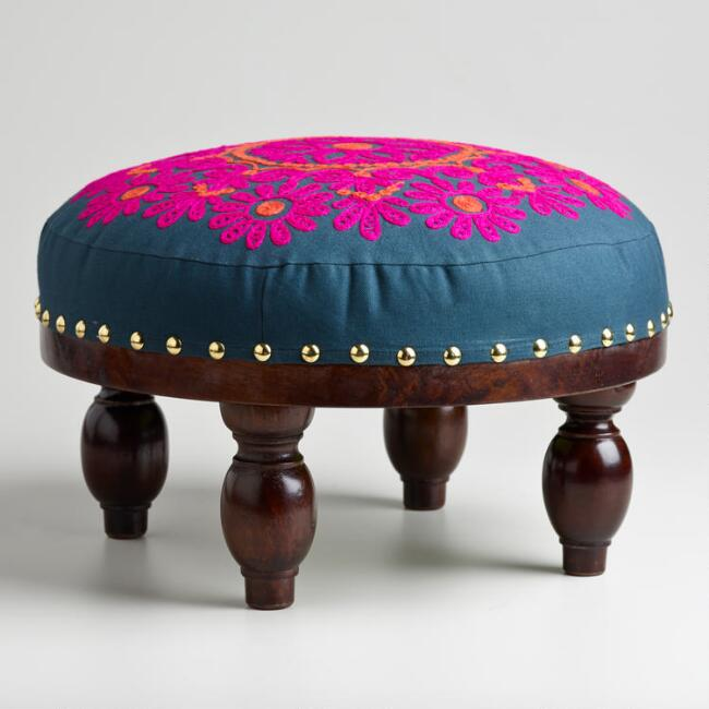 Round Embroidered Upholstery Footstool