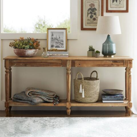 World Market Sofa Table Wood Farmhouse Coffee