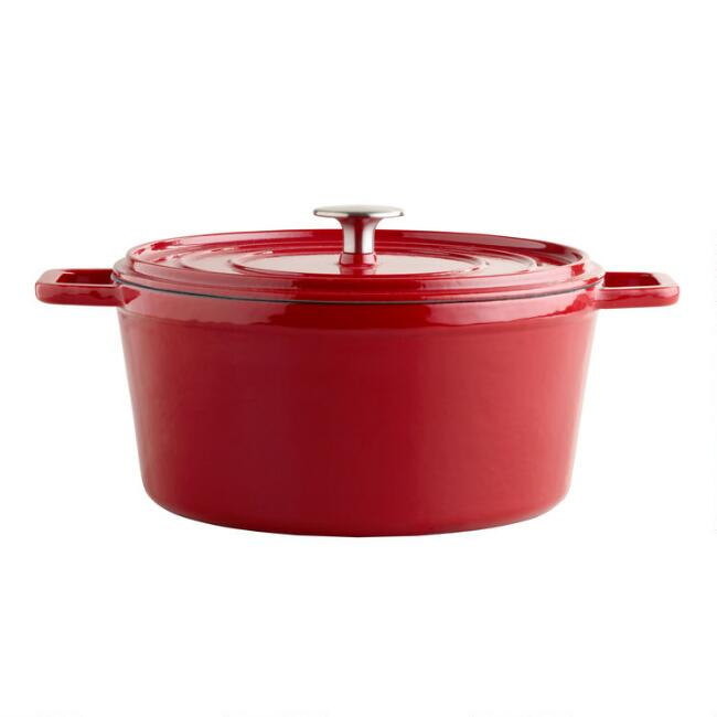 Round Cherry Red Enamel Cast Iron Dutch Oven