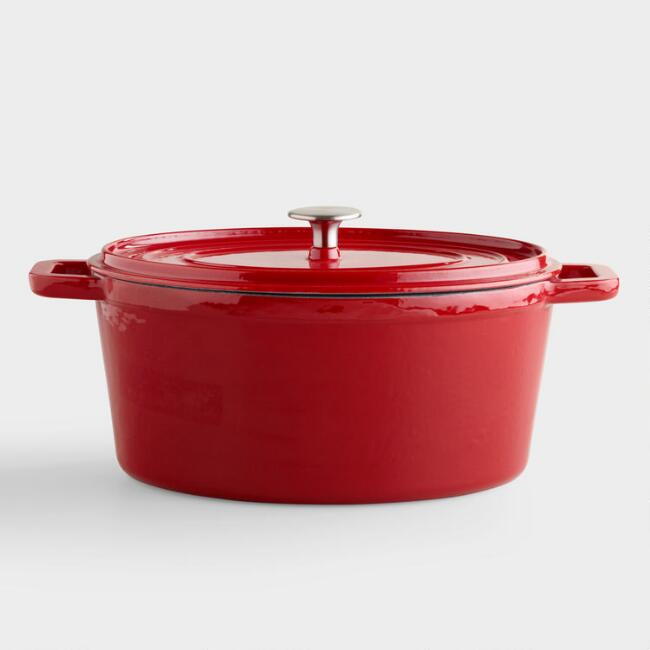 Oval Cherry Red Enamel Cast Iron Dutch Oven