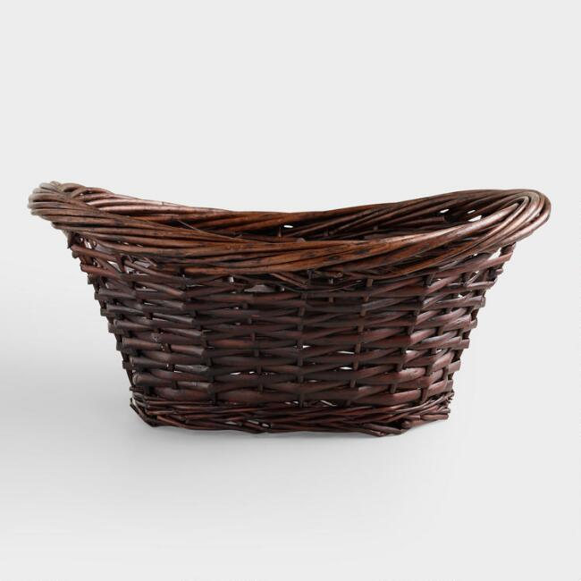 Brown Scooped Oval Willow Basket