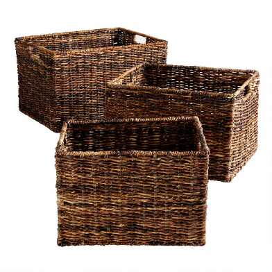 Dark Brown Abaca Madras Utility Basket