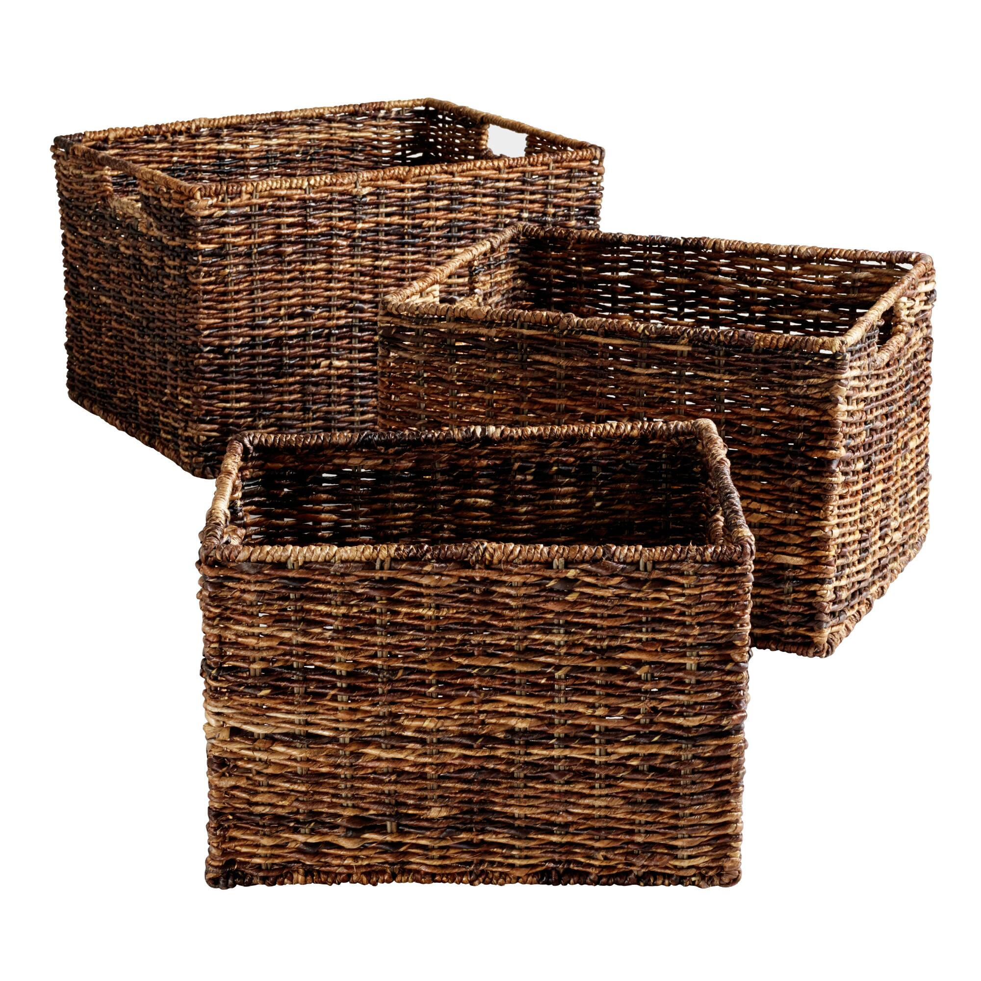 Madras Rectangular Baskets: Brown - Natural Fiber - Medium by World Market Medium