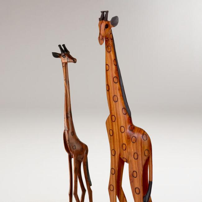 Hand Carved Giraffe Artisan Accent