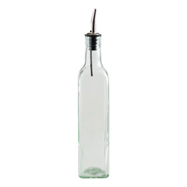 Square Green Glass Oil Bottle With Spout