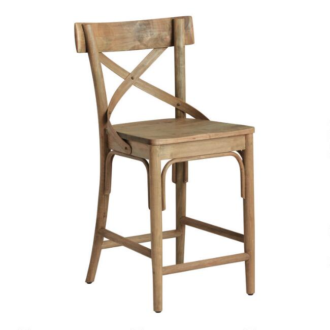 Light Walnut Bistro Counter Stool - Come discover more French Farmhouse Decor inspired by Fixer Upper and click here to Get the Look of The Club House Kitchen & Sun Room. #fixerupper #joannagaines #kitchendecor #frenchfarmhouse