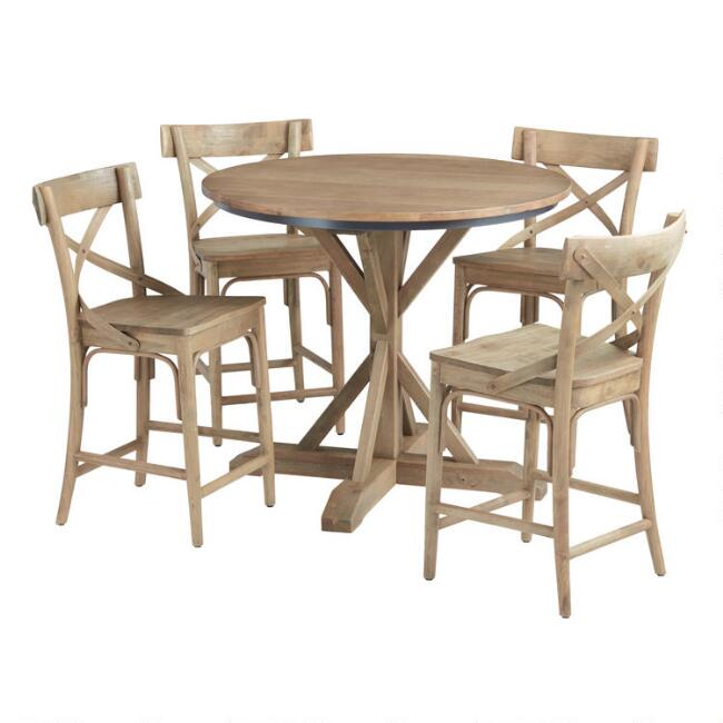 Light Walnut Bistro Counter Height Dining Collection