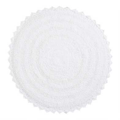 Round White Cotton Bath Mat