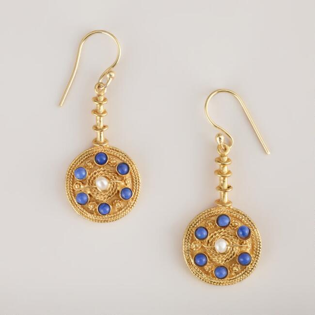 Gold and Lapis South Indian Dangle Earrings