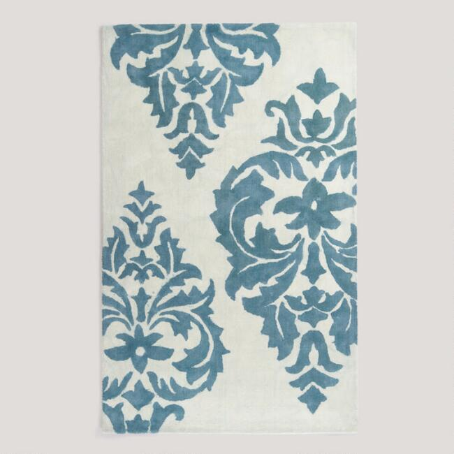 5'x8' Blue Damask Hand-Painted Rug
