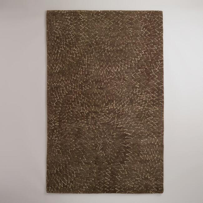 5' x 8' Chocolate Geometric Hooked Rug