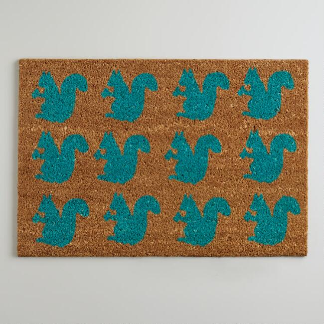 Blue Squirrels In a Row Doormat