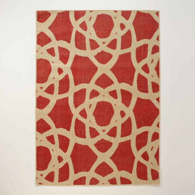 4.9'x6.9' Red Bolinas Indoor-Outdoor Rug