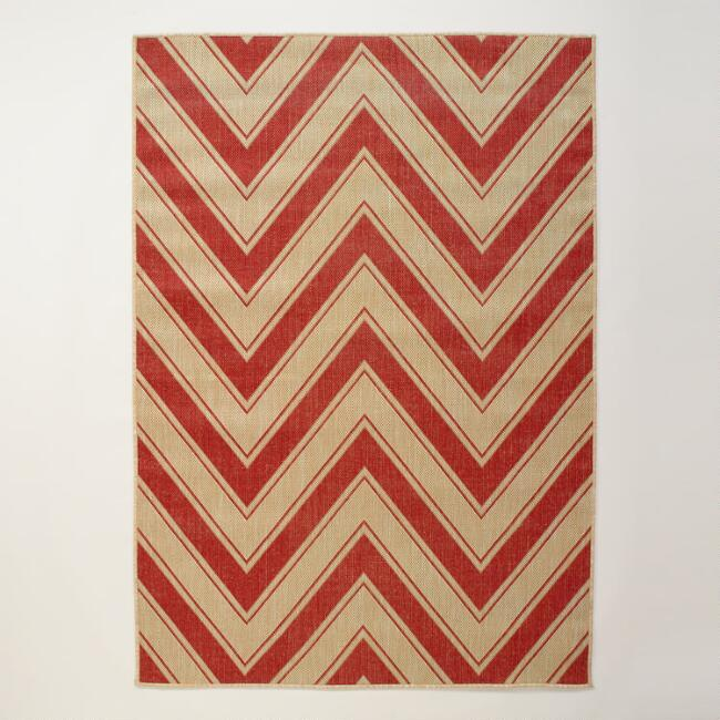 4.9\'x6.9\' Red Chevron Indoor-Outdoor Rug | World Market