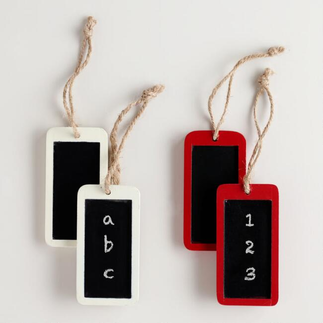 Mini White and Red Chalkboard Signs, Set of 4