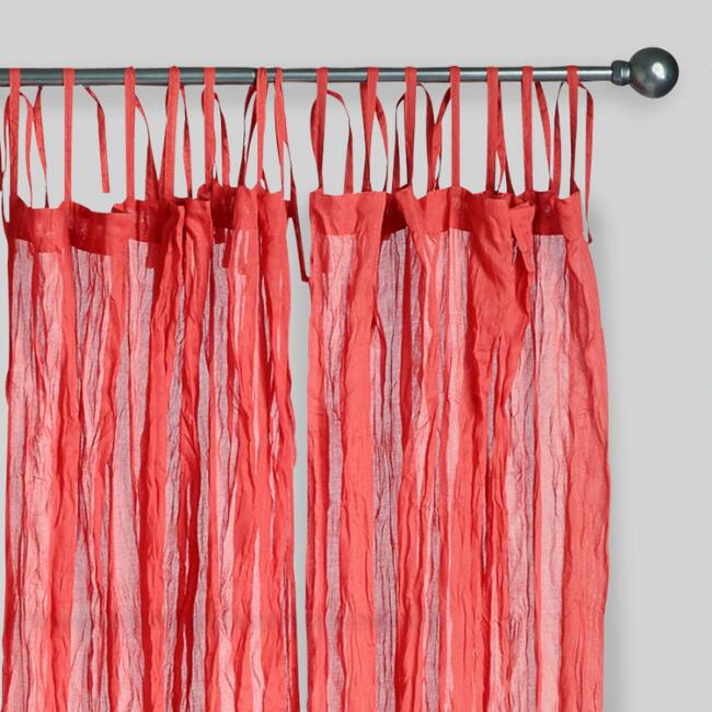 Red Crinkle Voile Cotton Curtains, Set of 2