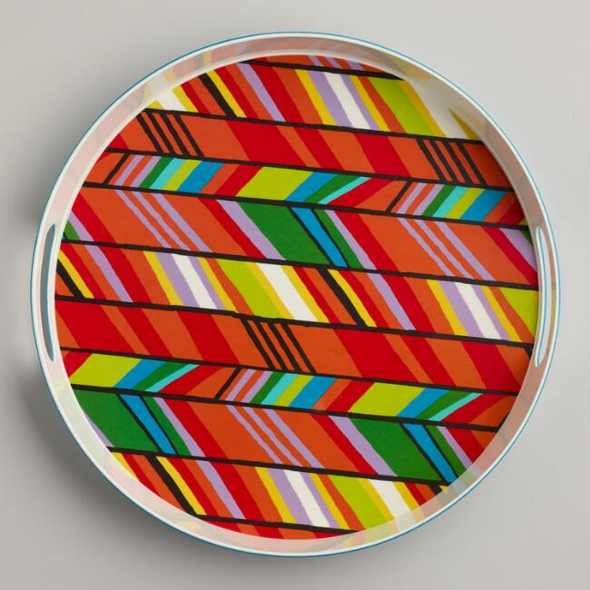 Multi Stripe Chevron Tray